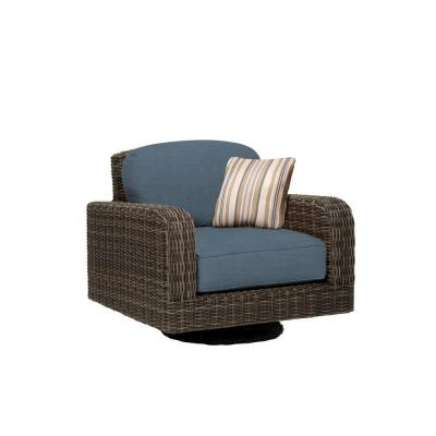 Northshore Patio Motion Lounge Chair in Denim with Terrace Lane Throw