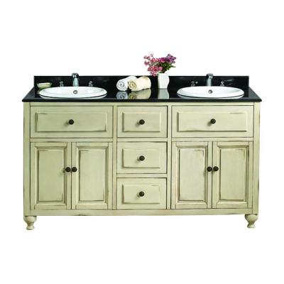 OVE Decors Kensington II 60 in. W x 21 in. D Vanity in Antique White with Granite Vanity Top in Black with White Basin