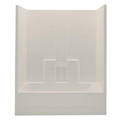 Aquatic Everyday 60 in. x 30 in. x 75 in. Left Drain 1-Piece Bath and Shower Kit in Bone