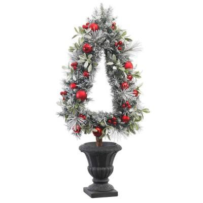 45 in. H Unlit Flocked Pine and Mistletoe Artificial Christmas Tree Topiary Product Photo
