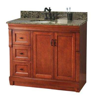 Foremost Naples 37 in. W x 22 in. D Vanity with Left Drawers in Warm Cinnamon with Granite Vanity Top in Quadro