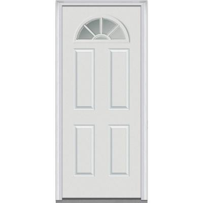 32 in. x 80 in. Classic Clear Glass 5 Arch Lite 4-Panel Primed White Fiberglass Smooth Prehung Front Door Product Photo