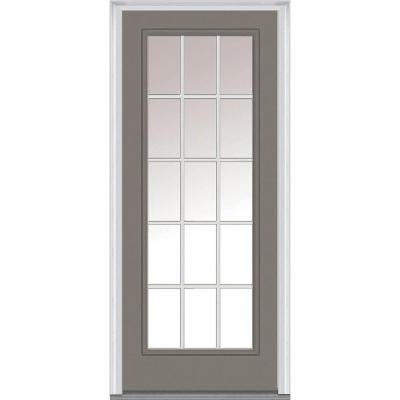 32 in. x 80 in. Classic Clear Glass GBG Full Lite Painted Majestic Steel Prehung Front Door Product Photo