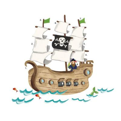27 in. x 40 in. Pirate Ship 18-Piece Peel and Stick