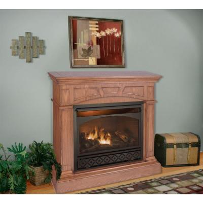 ProCom 47 in. Vent-Free Propane Gas Fireplace in Medium Oak with Remote