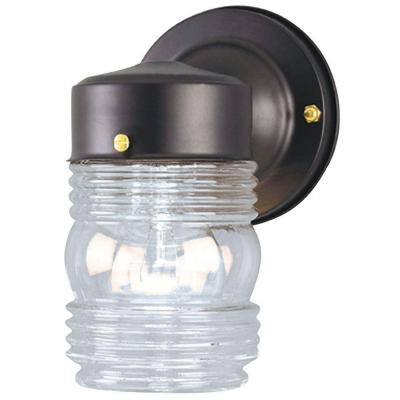 Westinghouse 1-Light Matte Black Steel Exterior Jelly Jar Wall Lantern with Clear Glass