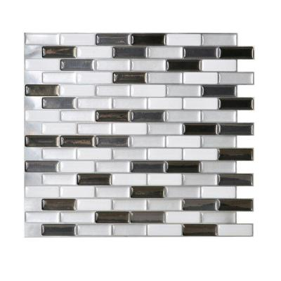 in mosaic adhesive decorative wall tile backsplash in grey 12 pack