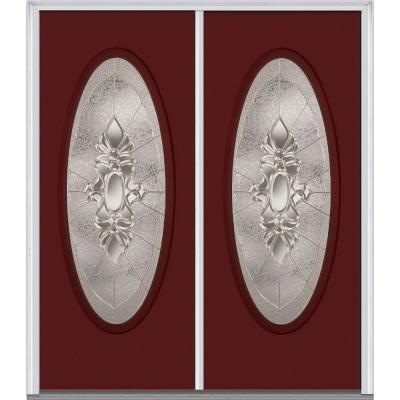 Heirloom Master Deco Glass Full Oval Lite Painted Majestic Steel Double Prehung Front Door