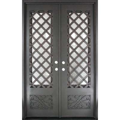 62 in. x 97.5 in. Luce Lattice Classic 3/4 Lite Painted Oil Rubbed Bronze Wrought Iron Prehung Front Door Product Photo