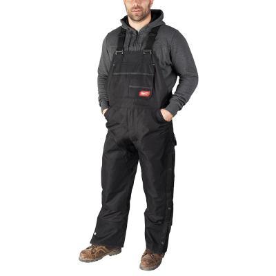 Men's Gridiron Black Zip-to-Thigh Bib Overall