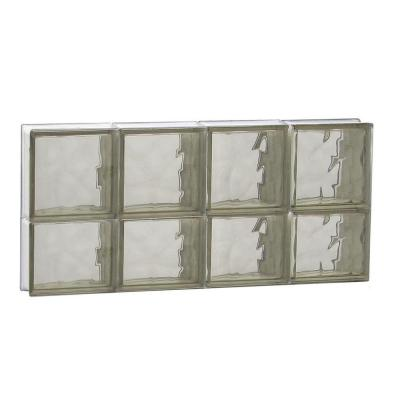 31 in. x 13.5 in. x 3.125 in. Non-Vented Bronze Wave Pattern Glass Block Window Product Photo