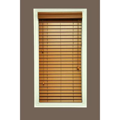 Hampton Bay QuickShip Cut to Width Golden Oak 2 in. Faux Wood Blind - 29 in. W x 74 in. L (Actual Size 28.5 in. W 74 in. L )