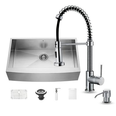 VIGO All-in-One Farmhouse Apron Front Stainless Steel 36 in. Single Basin Kitchen Sink and Faucet Set