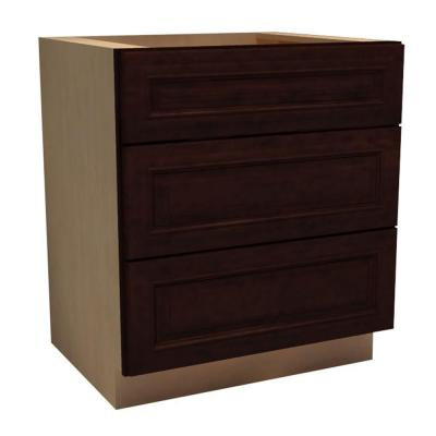 24x34.5x24 in. Somerset Assembled Base Cabinet with 3 Drawers in Manganite