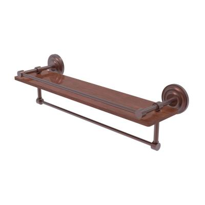 Allied Brass Que New Collection 22 in. IPE Ironwood Shelf with Gallery Rail and Towel Bar in Antique Copper