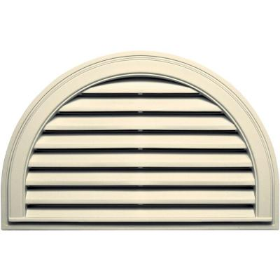 22 in. x 34 in. Half Round Gable Vent in Cream Product Photo