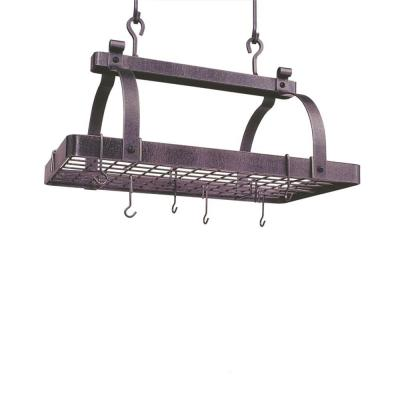 Premier Classic Rectangle Ceiling Pot Rack in Hammered Steel