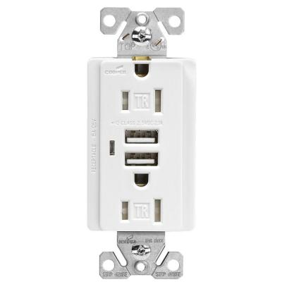 Eaton 15-Amp Decorator USB Charging Electrical Duplex Outlet - White