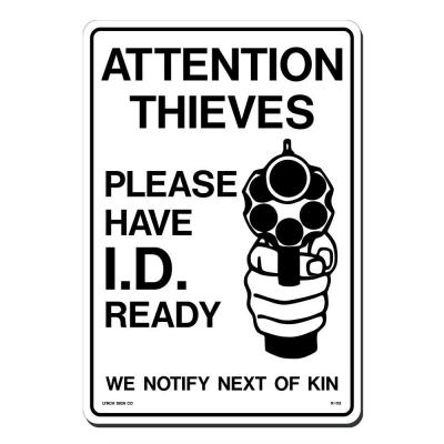 10 in. x 14 in. Black on White Plastic Attention Thieves