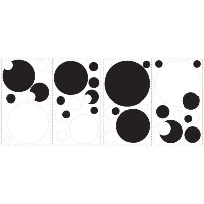 18 in. x 40 in. Black and White Chalkboard Dots 31-Piece