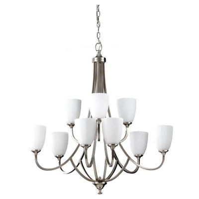 Perry 9-Light Brushed Steel Multi Tier Chandelier