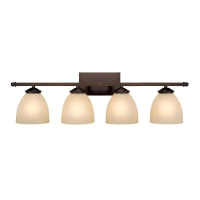 Roxeanne 4-Light Burnished Bronze Bath Vanity Light with Mist Scavo Glass