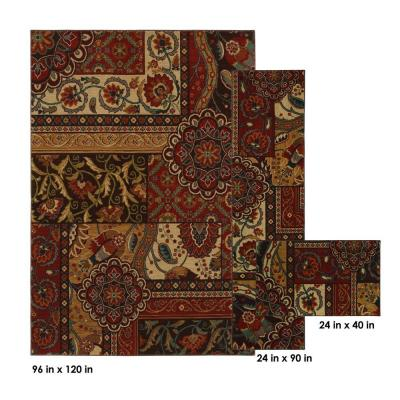 Home Decorators Collection Keswick Tomatillo Red 3-Piece Rug Set