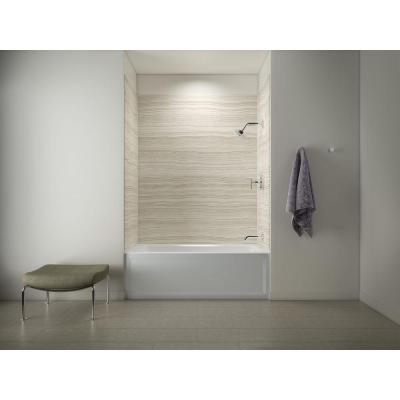 Archer 5 ft. Right Drain Tub with Choreograph 72 in. 5-Piece Bath/Shower Wall Surround in VeinCut Biscuit Product Photo