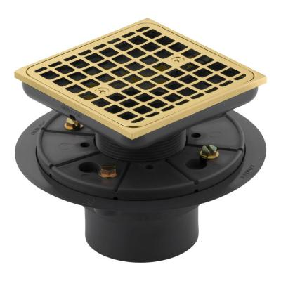 Square Tile-In Shower Drain in Vibrant Polished Brass