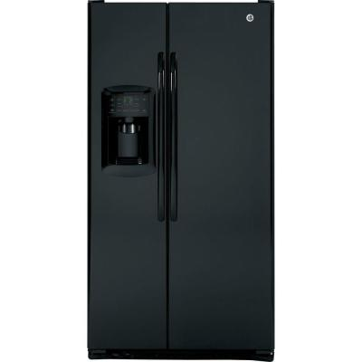 GE 22.7 cu. ft. Side by Side Refrigerator in Black, Counter Depth