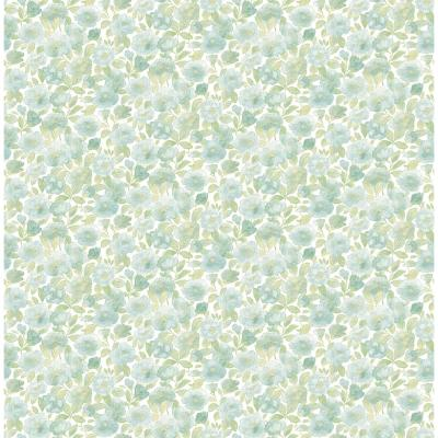56 sq. ft. Elsie Teal Floral Wallpaper Product Photo