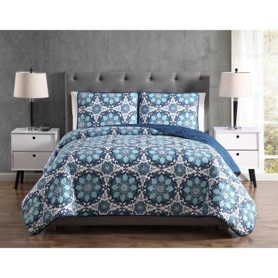 Mhf Home Sampson Blue Medallion Quilt Set