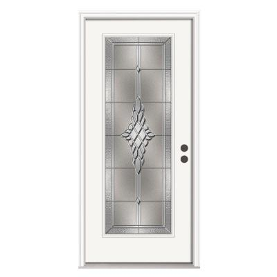 JELD-WEN 36 in. x 80 in. Hadley Full Lite Primed Premium Steel Prehung Front Door with Brickmould
