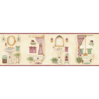 The Wallpaper Company 7.875 in. x 15 ft. Pastel Vintage Bathroom Border