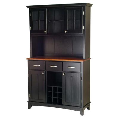 Home Styles Three-Drawer 44 in. W Black Buffet with Cottage Oak Wood Top and Hutch