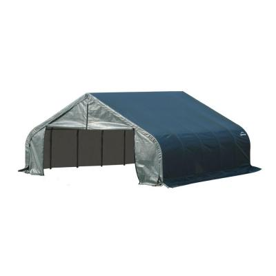 ShelterLogic 18 ft. x 20 ft. x 10 ft. Green Steel and Polyethylene Garage without Floor