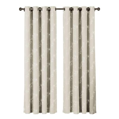 Ashley Embroidered Faux Linen Ivory Grommet Extra Wide Curtain Panel, 54 in. W x 84 in. L Product Photo