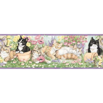 The Wallpaper Company 6.75 in. x 15 ft. Purple Gardening Kittens Border-DISCONTINUED