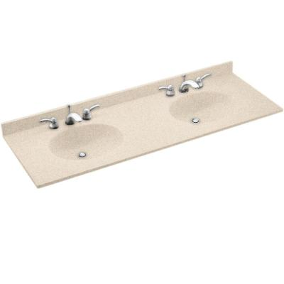 Swan Chesapeake 61 in. Solid Surface Double Basin Vanity Top in Tahiti Sand with Tahiti Sand Basins-DISCONTINUED
