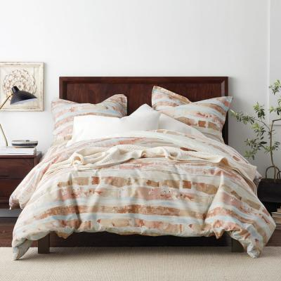 Sky Geometric Organic Cotton Percale Duvet Cover