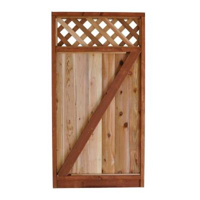 3 ft. W x 6 ft. H Western Red Cedar Lattice Top Fence Gate Product Photo