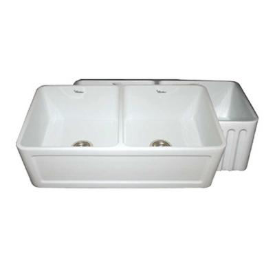Double Bowl Apron Front Sink : ... Series Apron Front Fireclay 33 in. Double Bowl Kitchen Sink in White