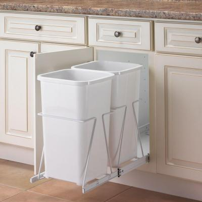 Cabinet 27 Qt Double Pull Out Trash Can In White PRC12 2 27 R W The