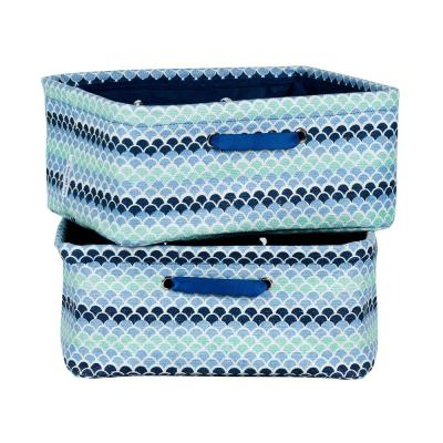 Storit Small Blue Polypropylene Nightstand Baskets with Oval Pattern (2-Pack)