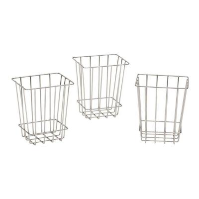 Martha Stewart Living 6 in. H x 6 in. D Laundry Storage Metal Baskets in Silver Metallic (Set of 3)