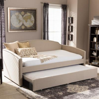 Baxton Studio Lanny Contemporary Beige Fabric Upholstered Twin Size Daybed