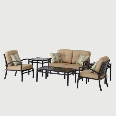 Hampton Bay Morgan Modern 6 Pc. Patio Seating Set with Sunbrella Canvas Heather Beige Cushions-DISCONTINUED