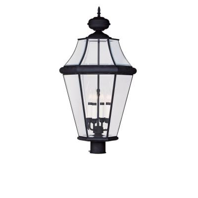 Filament Design 4-Light Outdoor Black Post Head with Clear Beveled Glass