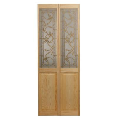 Pinecroft 24 in. x 80 in. Glass Over Panel Universal/Reversible Tuscany Wood Interior Bi-Fold Door