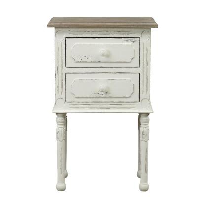 Alys Traditional Wood French Accent Nightstand in White/Light Brown